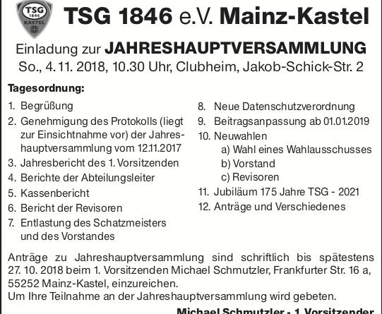 Einladung zur Jahreshauptversammlung '18